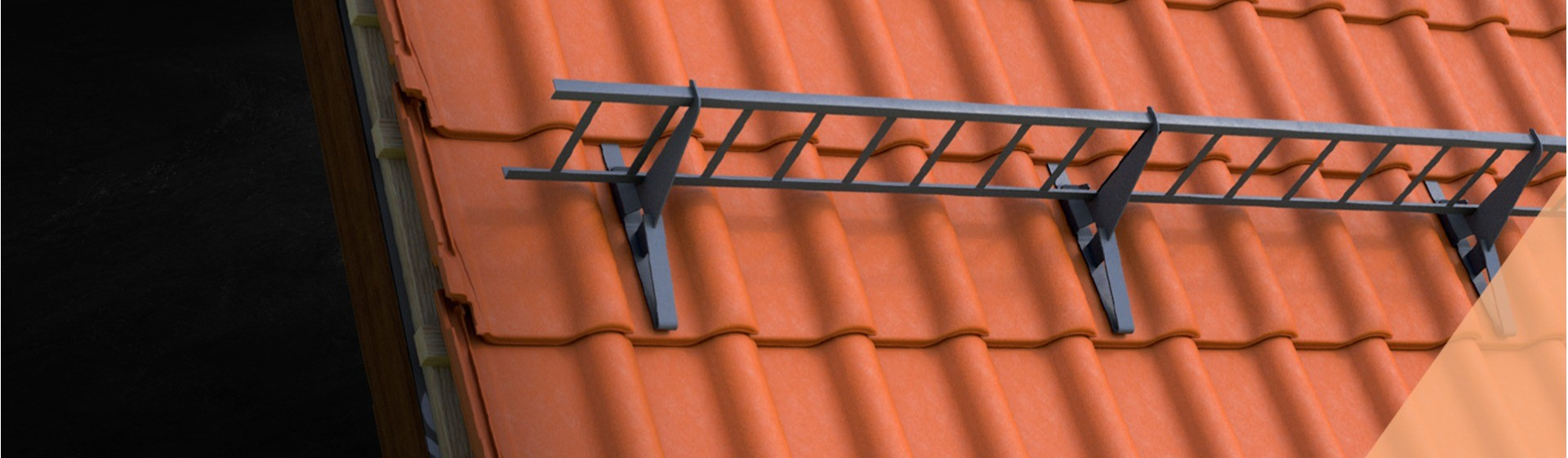 Klober snow guard grid and brackets on terracotta concrete roof
